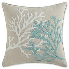image of Coastal Living Coral Life Square Throw Pillow in Aqua