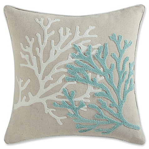 Coastal Home Throw Pillows : Coastal Living Coral Life Square Throw Pillow in Aqua - Bed Bath & Beyond