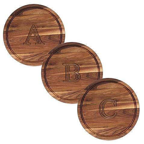 cutting board company 16 inch round wood monogram cutting board in walnut bed bath beyond. Black Bedroom Furniture Sets. Home Design Ideas
