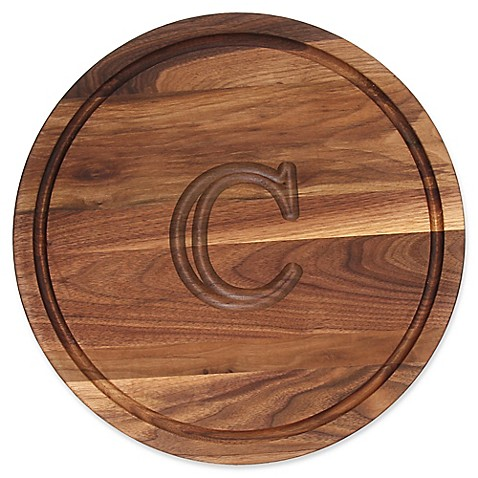 buy cutting board company 16 inch round wood monogram letter c cutting board in walnut from. Black Bedroom Furniture Sets. Home Design Ideas
