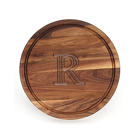 buy cutting board company 16 inch round wood monogram letter r cutting board in walnut from. Black Bedroom Furniture Sets. Home Design Ideas
