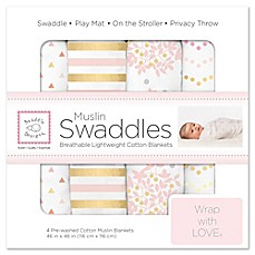 image of SwaddleDesigns® 4-Pack Heavenly Floral Muslin Swaddles in White/Pink
