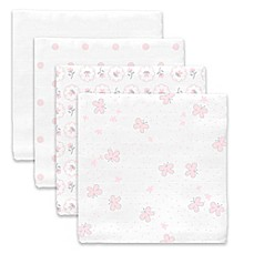 image of SwaddleDesigns® Butterflies Muslin Swaddle Blanket in White/Pink (Set of 4)