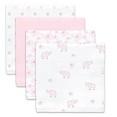 image of SwaddleDesigns® Elephant Wishes Muslin Swaddle Blanket in Pink (Set of 4)