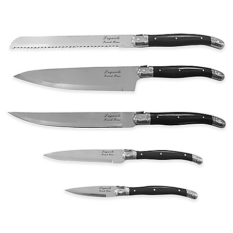 French Home Laguiole 5-Piece Knife Set in Black