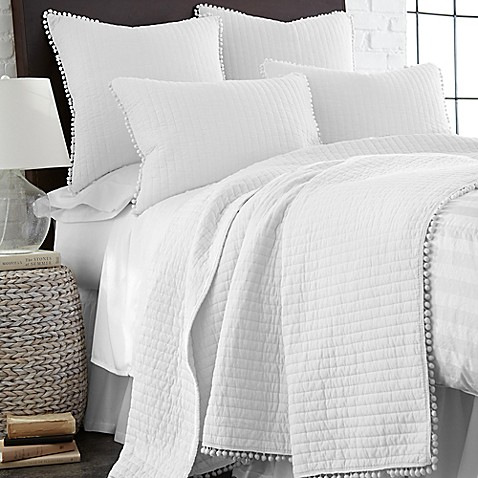 Levtex Home Pom Pom Reversible Quilt In White Bed Bath