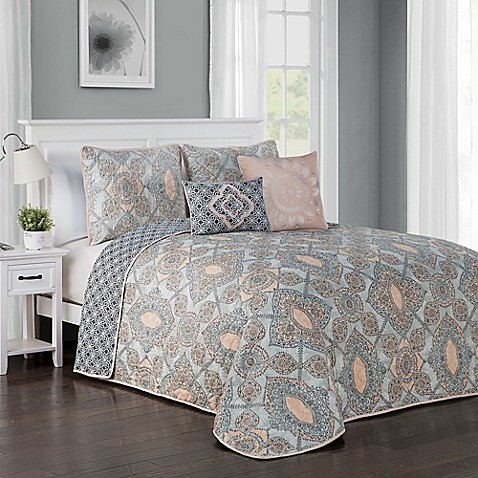 Buy avondale manor modena 5 piece king quilt set in blush for Kitchen set modena