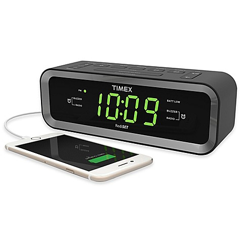timex fm dual alarm clock radio with usb charge port bed bath beyond. Black Bedroom Furniture Sets. Home Design Ideas