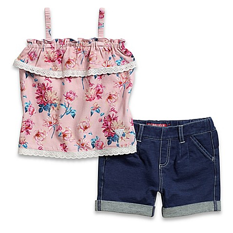 Guess 174 2 Piece Ruffle Floral Tank And Knit Denim Short Set