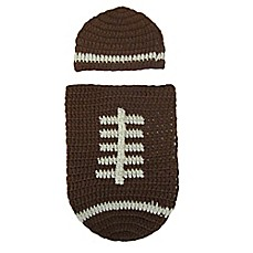 image of So 'dorable Crochet 2-Piece Football Hat and Cocoon Set in Brown