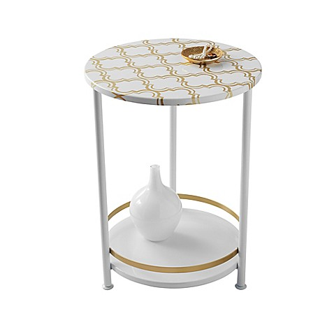 Two Tier Gold Frette Round Table Bed Bath Amp Beyond