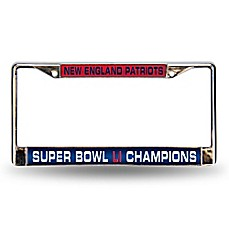 image of NFL New England Patriots Super Bowl LI Champions Chrome License Plate Frame