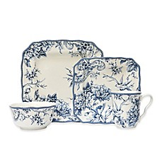 image of 222 Fifth Adelaide 16-Piece Square Dinnerware Set in Blue