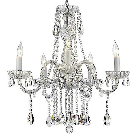Venetian Style 5 Light Crystal Plug In Chandelier In Clear