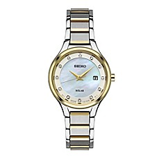image of Seiko Core Ladies' 29mm Diamond-Accented Mother of Pearl Solar Watch in Two-Tone Stainless Steel