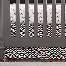 Image Of Liz And Roo Woodland Archery Crib Skirt In Navy/Coral Design