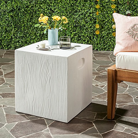 Merveilleux Safavieh Cube Concrete Accent Table In Ivory