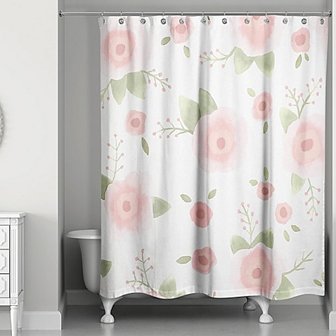 designs direct spring watercolor florals 74 inch shower curtain in pink green bed bath beyond. Black Bedroom Furniture Sets. Home Design Ideas