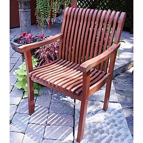 Outdoor interiors venetian eucalyptus arm chair bed bath beyond for Outdoor interiors eucalyptus rocking chair