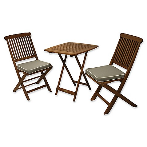 Buy Outdoor Interiors Eucalyptus Wood 3 Piece Square Bistro Set With Grey Cushions From Bed Bath