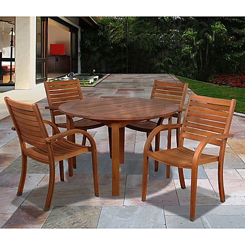 amazonia arizona 5 piece round eucalyptus wood outdoor