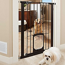 image of MyPet Passage 42-Inch Extra Tall Pet Gate with Small Pet Door in Matte Bronze