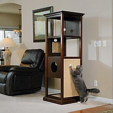 image of Sauder Pet Traditional Wood Cat Tower in Espresso