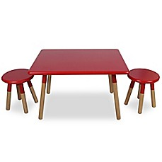 image of Kids 3-Piece Dipped Table and Stool Set in Red