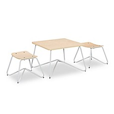 image of Kellan Kids Table with Stools in White (Set of 3)
