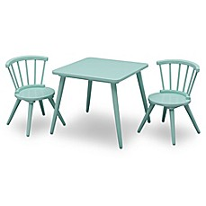 image of Delta Children Windsor 3-Piece Table and Chair Set in Aqua