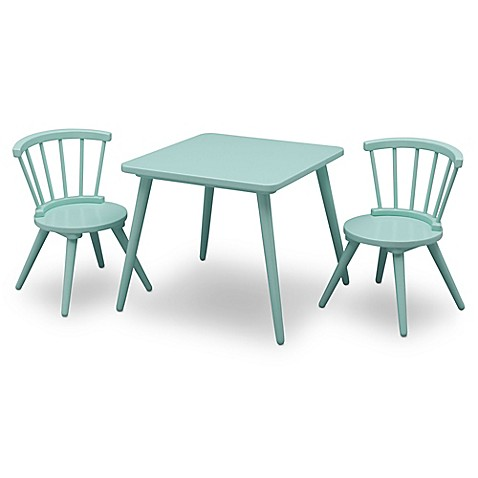 Delta Children Windsor 3 Piece Table And Chair Set In Aqua