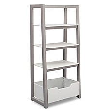 image of Delta Children Ladder Shelf in White/Grey