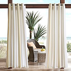 Image Of Madison Park Newport Printed Stripe 3M Scotchgard Grommet Top Outdoor  Curtain Panel