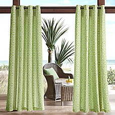 image of Madison Park Aptos Printed Fret 3M Scotchgard Grommet Top Outdoor Curtain Panel