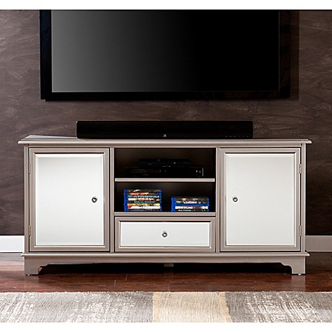 Southern Enterprises Mirage Mirror Tv Stand In Silver