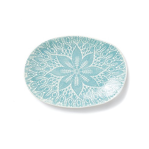 viva by vietri lace small oval platter in aqua bed bath. Black Bedroom Furniture Sets. Home Design Ideas