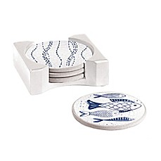 image of Cypress Home Crackle Fish Coasters with Caddy in Blue (Set of 4)