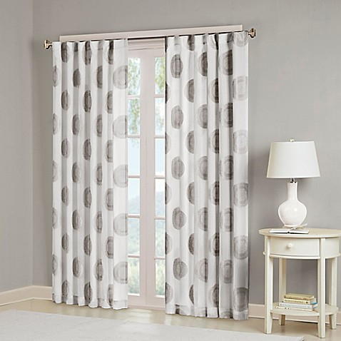 Buy Madison Park Yakima 63 Inch Rod Pocket Back Tab Window Curtain Panel In White Grey From Bed
