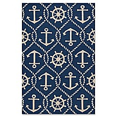 image of KAS Harbor Marina Indoor/Outdoor Area Rug in Navy