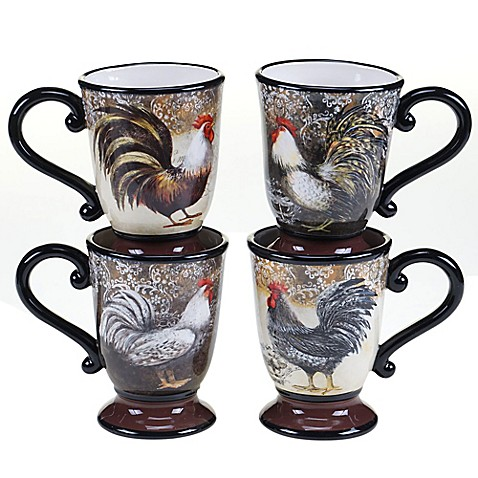 Certified International Vintage Rooster Mugs Set Of 4
