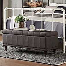 image of verona home amelia button tufted storage bench