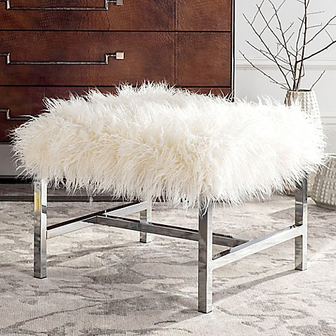 Buy Safavieh Horace Faux White Sheepskin Bench In Polished Chrome From Bed Bath Beyond