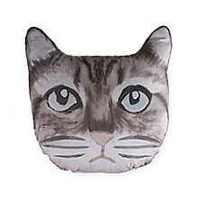 image of Cat Face Throw Pillow in Grey
