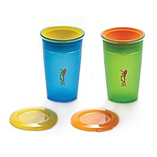 image of Juicy! Wow Cup 2-Pack 9 oz. Spill-Proof Kid's Cup in Blue/Green