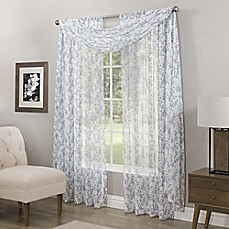 image of Somerset Printed Crushed Sheer Rod Pocket Window Curtain Panel and Scarf Valance