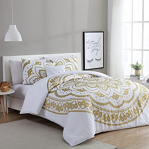 vcny karma comforter set in gold white bed bath beyond. Black Bedroom Furniture Sets. Home Design Ideas