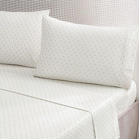 Buy brielle fashion fleur de lis cotton jersey california king sheet set in gold from bed bath - Fleur de lis bed sheets ...