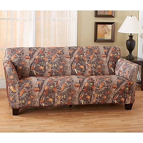 great bay home kings strapless slipcover sofa in camo