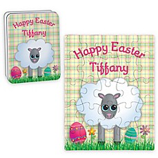 image of Sheep Happy Easter Puzzle and Tin in Yellow