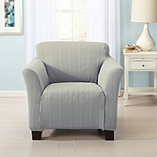 image of great bay home darla strapless cable knit chair slipcover